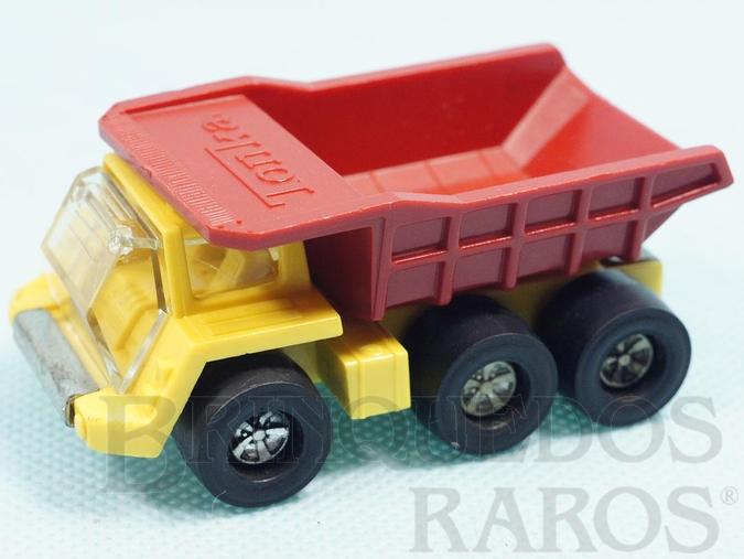 Brinquedo antigo Caminhão Basculante Thumper Dumper com 8,00 cm de comprimento Série Tonka Tote versão espalhola Carroceria de plástico Década de 1970