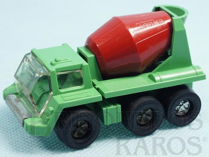 Brinquedo antigo Caminhão Betoneira Quicker Mixer com 8,00 cm de comprimento Série Tonka Tote versão espanhola Carroceria de plástico Década de 1970