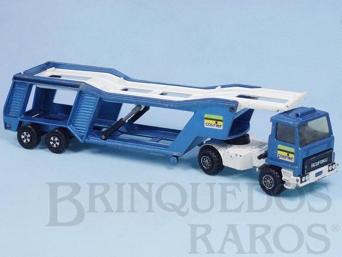 Brinquedo antigo Caminhão Cegonha Car Transporter Super Kings azul