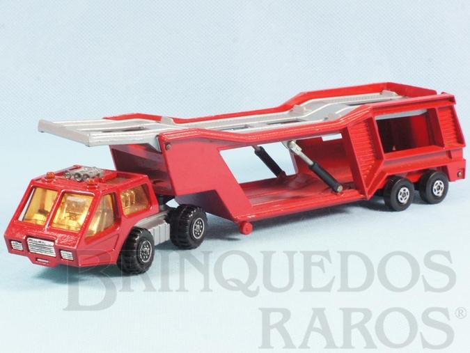 Brinquedo antigo Caminhão Cegonha Car Transporter Super Kings vermelho