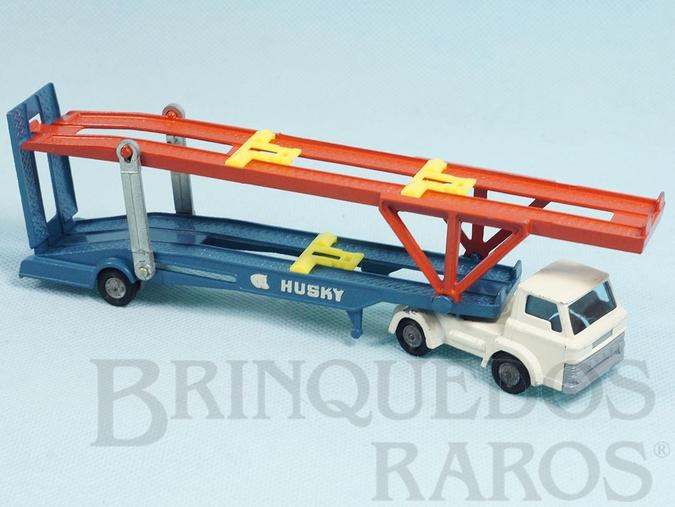 Brinquedo antigo Caminhão Cegonha Hoynor Car Transporter cabine branca Husky Década de 1960