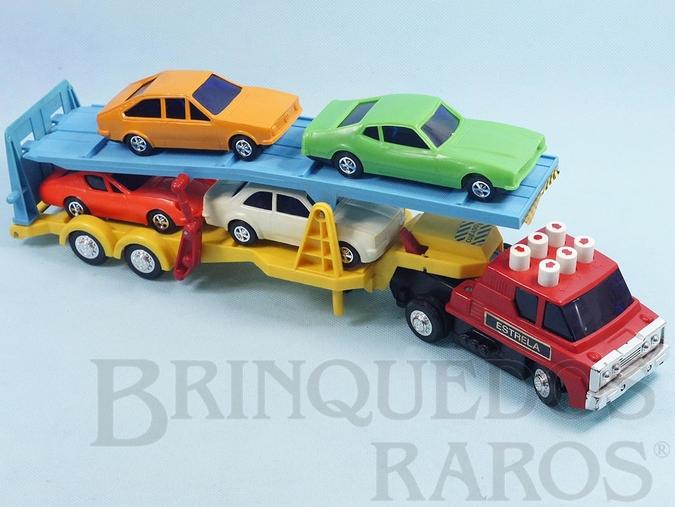 Brinquedo antigo Caminhão Cegonha Jamanta Comando Eletrônico botões pintados com 4 carros Puma Maverick Passat e Chevette Ano 1977