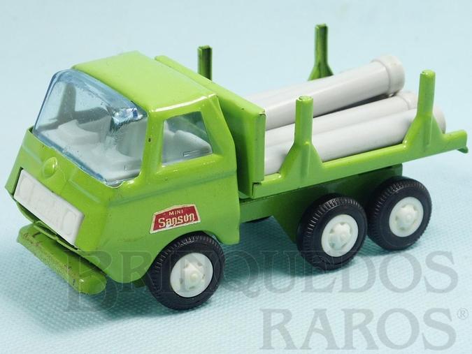 Brinquedo antigo Caminhão com Tubos 13,00 cm de comprimento Série Mini Sanson Década de 1970