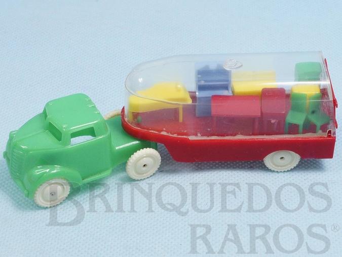 Brinquedo antigo Caminhão de Mudança com Cavalo Mecânico e Carreta transparente com diversos móveis em miniatura 14,00 cm de comprimento Década de 1950
