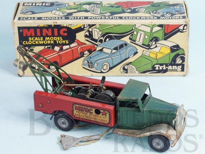 Brinquedo antigo Caminhão Guincho Breakdown Lorry Minic Motor Service Co. com dois motores 16,00 cm de comprimento Década de 1940