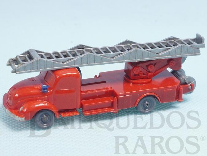 Brinquedo antigo Caminhão Magirus Deutz 1939 com escada e mangueira Janelas Sólidas Década de 1950