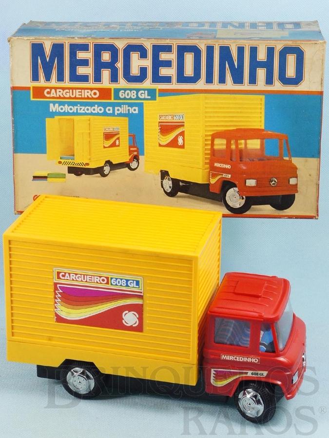 Brinquedo antigo Caminhão Mercedes Benz 608 GL com 24,00 cm de comprimento Mercedinho Glasslite Versão Furgão Década de 1980