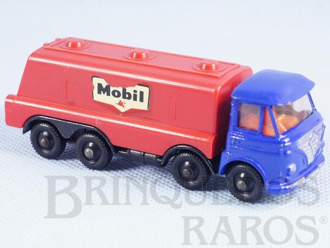 Brinquedo antigo Caminhão tanque Foden Tilt Cab Tanker Mobil Impy Road Master Cabine basculante azul Década de 1970
