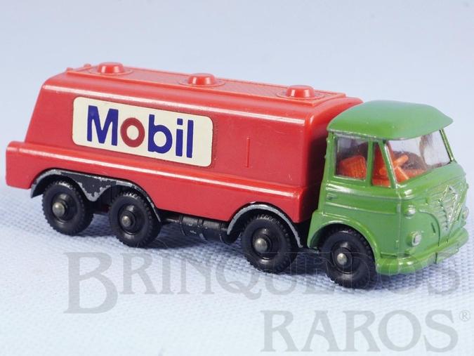 Brinquedo antigo Caminhão tanque Foden Tilt Cab Tanker Mobil Impy Road Master Cabine basculante verde Década de 1970
