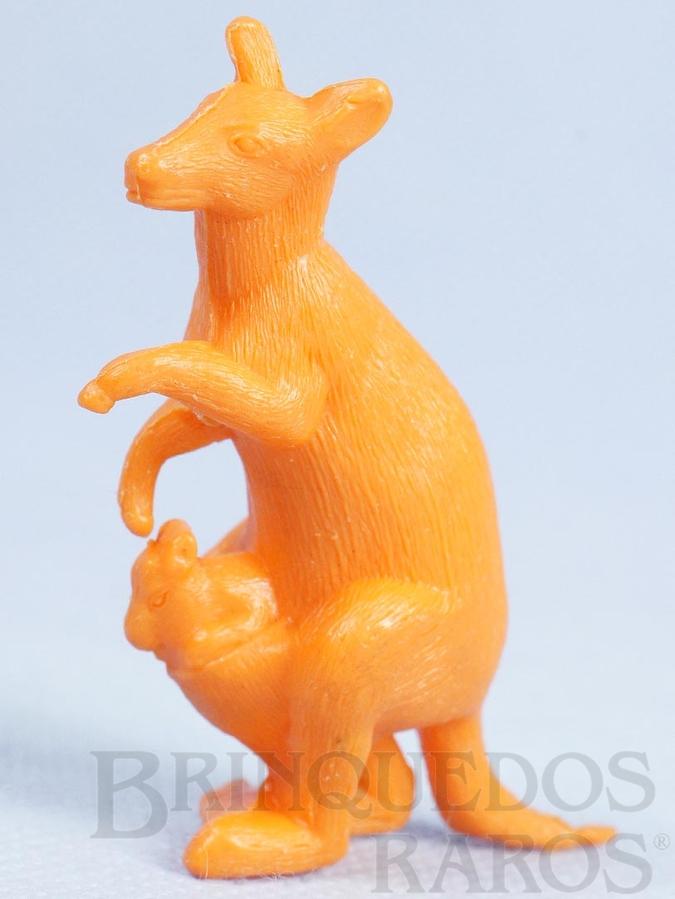Brinquedo antigo Canguru de plástico laranja Série Zoológico década de 1970