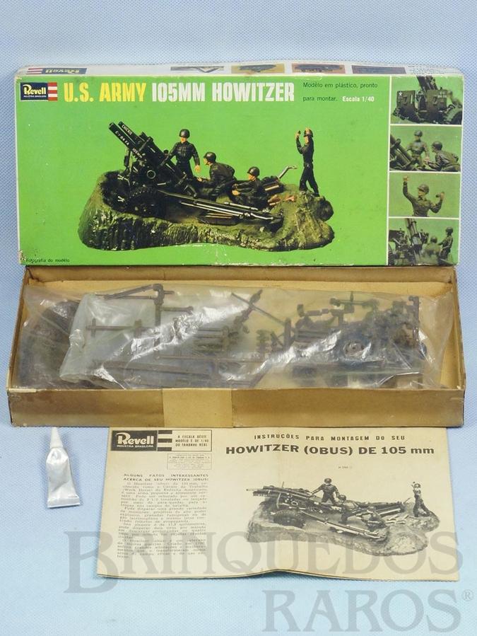 Brinquedo antigo Canhão 105 mm U.S. Army Howitzer Caixa dura Década de 1960