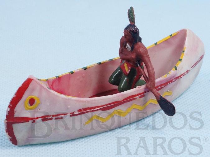 Brinquedo antigo Canoa com índio remando Série Acampamento Apache