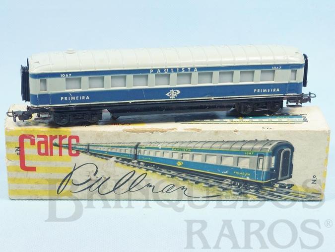 Brinquedo antigo Carro de Passageiros azul Companhia Paulista primeira classe Corrente Alternada Atma Mirim Década de 1950