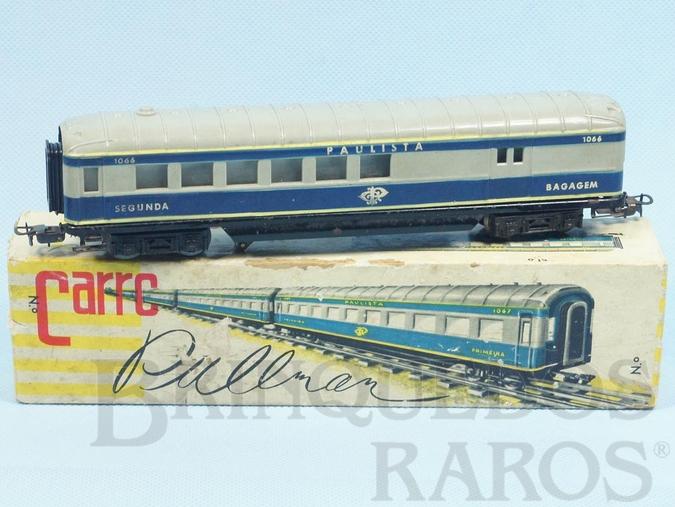 Brinquedo antigo Carro de Passageiros azul Companhia Paulista primeira classe e bagagens Corrente Alternada Atma Mirim Década de 1950