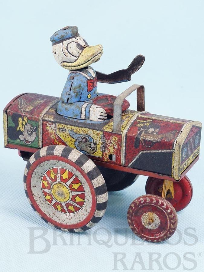 Brinquedo antigo Carro Maluco do Pato Donald com 14,00 cm de comprimento Donald Ducks Car Década de 1940