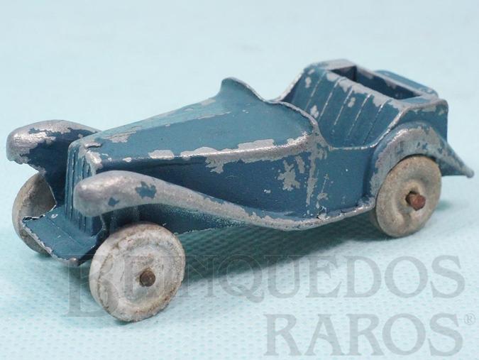 Brinquedo antigo Carro MG azul 8,00 cm de comprimento com rodas de pedra Década de 1920