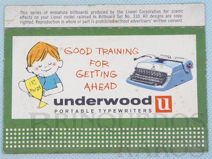 Brinquedo antigo Cartaz 310 Bilboard Plates Underwood Ano 1950 a 1968