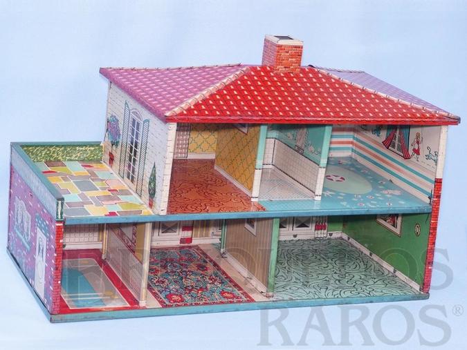 Brinquedo antigo Casa de Bonecas com 70,00 cm de comprimento por 45,00 cm de altura Lata litografada interna e externamente Esse Brinquedo foi vendido tanto pela Metalma como pela Estrela Década de 1950