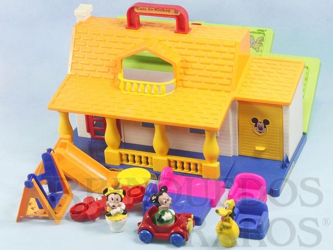 Brinquedo antigo Casa do Mickey completa com 3 Personagens Carro e Móveis Ano 1992