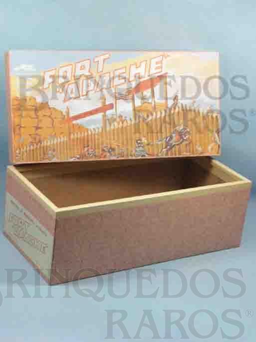 Brinquedo antigo Casablanca Caixa Fort Apache primeira caixa de Forte Apache reforço de madeira nas bordas Patente ainda requerida Ano 1964