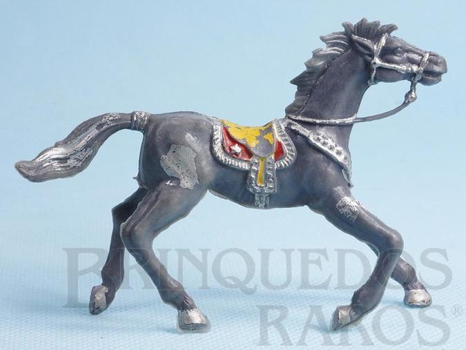 Brinquedo antigo Cavalo de Cowboy Cinza com manchas de tinta prateada
