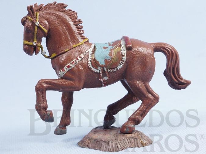 Brinquedo antigo Cavalo de Cowboy marrom Série Heróis Década de 1970