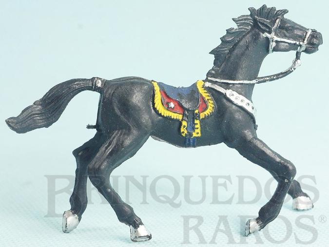 Brinquedo antigo Cavalo de Cowboy Preto Casablanca numerado 4 Década de 1960