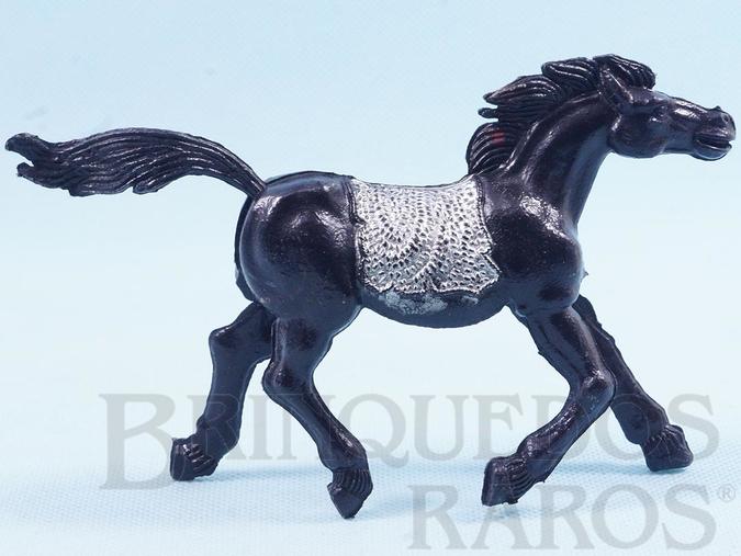 Brinquedo antigo Cavalo índio preto com 10,00 cm de altura Década de 1970