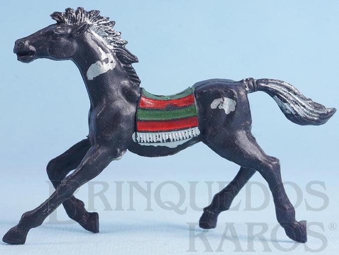 Brinquedo antigo Cavalo índio preto com manchas de tinta prateada