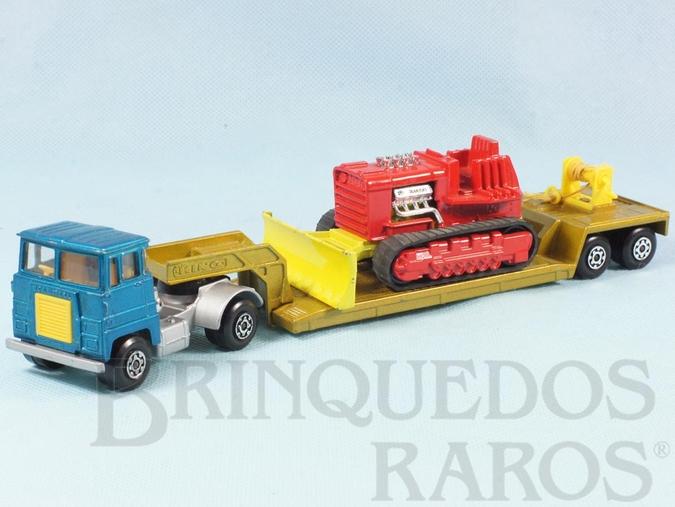 Brinquedo antigo Cavalo Mecânico com Carreta e Trator de esteiras Lowloader and Bulldozer Super Kings Década de 1970