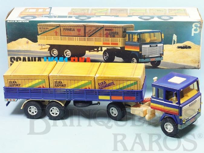 Brinquedo antigo Cavalo Mecânico Scania Vabis LK141 com carreta 56,00 cm de comprimento Perfeito estado Completo e 100% original Década de 1980