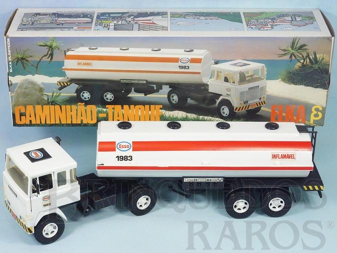 Brinquedo antigo Cavalo Mecânico Scania Vabis LK141 com carreta Tanque Esso 56,00 cm de comprimento Perfeito estado Completo e 100% original Chassi preto Década de 1980