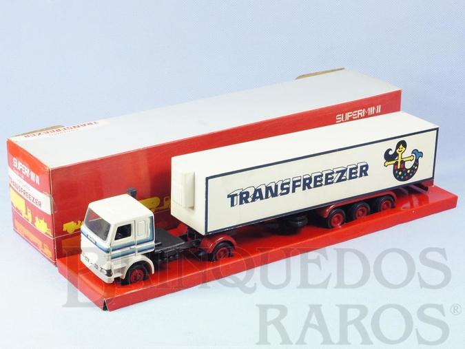 Brinquedo antigo Cavalo Mecânico Scania Vabis R142 com Carreta Transfreezer