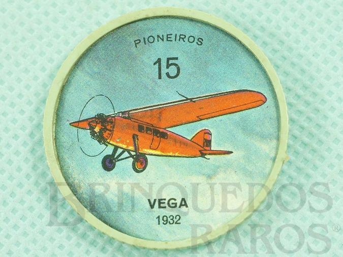 Brinquedo antigo Chapinha Kibon da Aviação Número 15 Pioneiros Vega 1932 Brinde da década de 1960