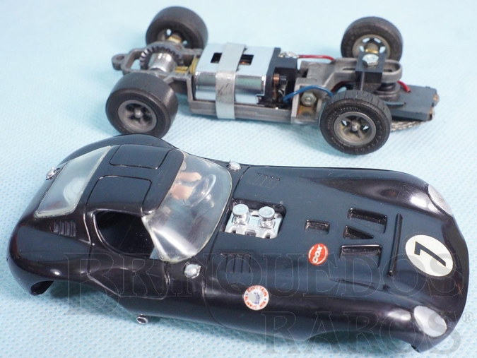 Brinquedo antigo Cheetah GT preta com chassi e cubos de rodas de magnésio Carro modelo da Cheetah GT Estrela Perfeito estado 100% original Ano 1965