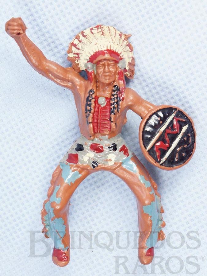 Brinquedo antigo Chefe Índio a cavalo com Escudo falta a lança Década de 1970