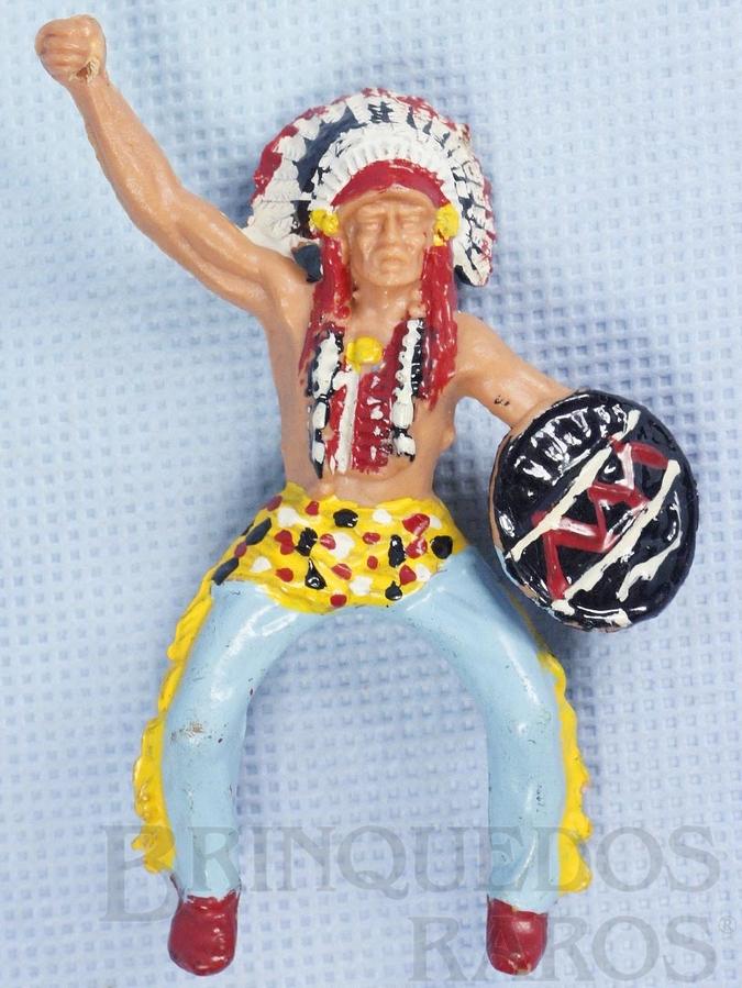 Brinquedo antigo Chefe Índio a cavalo com Escudo falta a lança Série Planície Selvagem Década de 1970