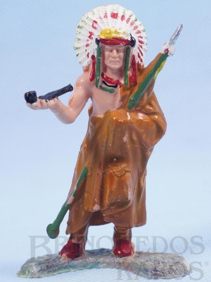 Brinquedo antigo Chefe Índio de pé com Cachimbo da Paz Série Figuras Forte Apache perfeito estado 100% original Década de 1970