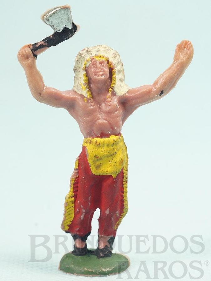 Brinquedo antigo Chefe índio de pé com machado Índio Adorador Casablanca numerado 54 Década de 1960