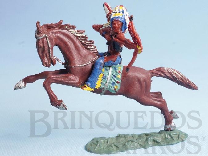 Brinquedo antigo Chefe índio montado a cavalo atirando flecha incendiária Chefe Flexa Vermelha Numerado 139 com Cavalo índio numerado 157 Conjunto Original Casablanca Série Caravana Ano 1965 RESERVED***MM***
