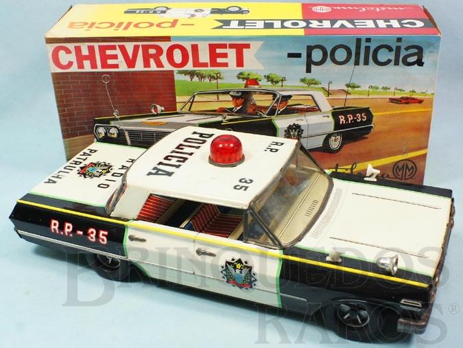 Brinquedo antigo Chevrolet Impala de Policia com 35,00 cm de comprimento Década de 1970