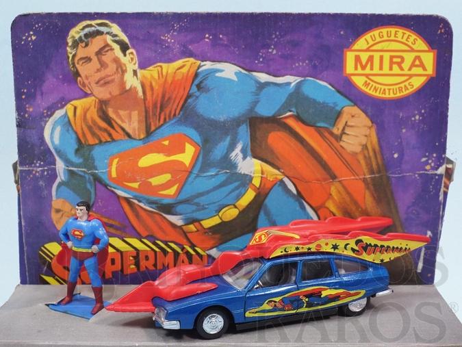 Brinquedo antigo Citroen CX 2400 Pallas Carro do Super Homem Superman Car com 15,00 cm de comprimento Completo com boneco Década de 1970