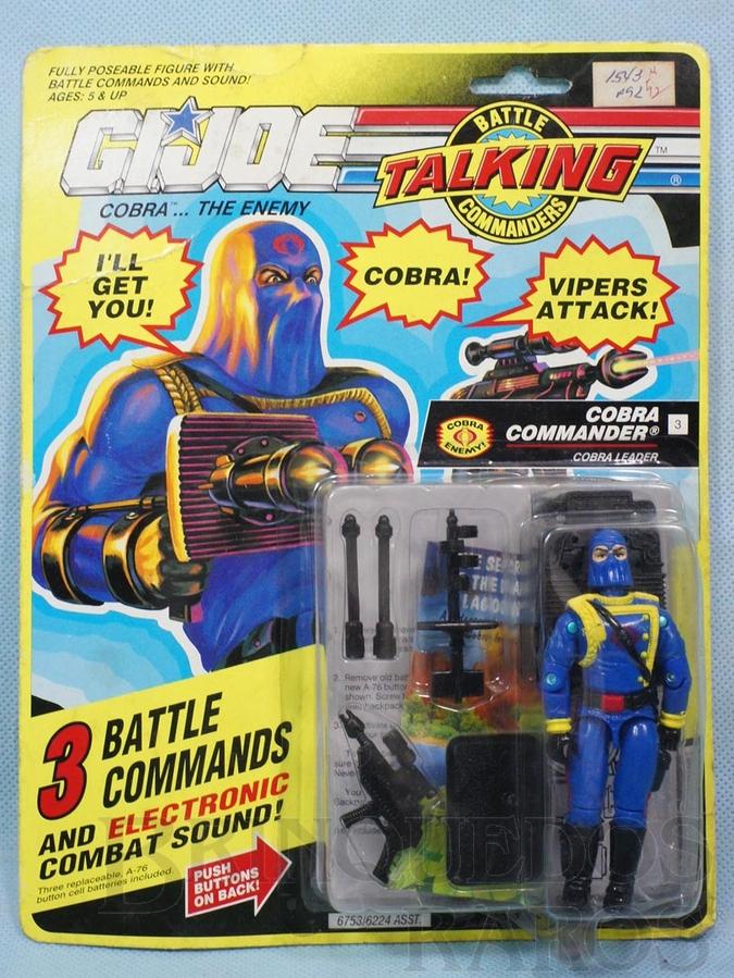 Brinquedo antigo Cobra Commander completo Blister lacrado Série Talking Ano 1991