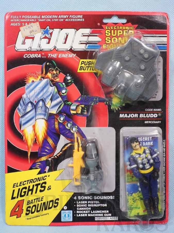 Brinquedo antigo Cobra Major Bludd completo Blister lacrado Série Eletronic Super Sonic Fighters Ano 1990