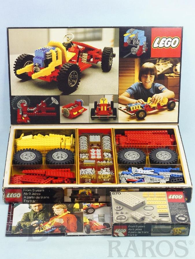 Brinquedo antigo Conjunto 853 Lego Technic para construir um chassi de carro com motor câmbio etc... versão francesa Completo com manual e folhetos Acompanha Conjunto 870 com motor elétrico Ano 1978