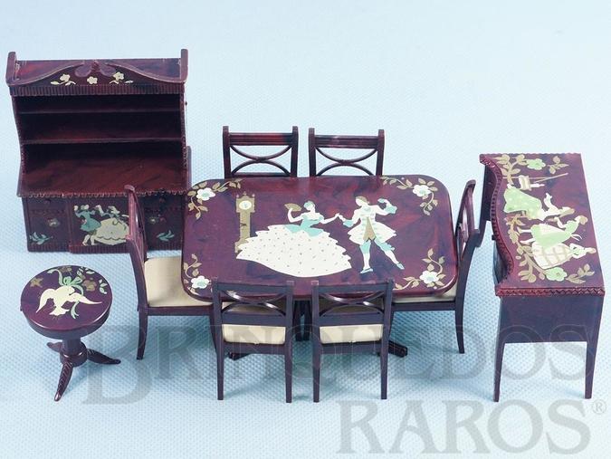 Brinquedo antigo Conjunto com 10 peças de móveis de Sala de Jantar de Casa de Bonecas Década de 1950
