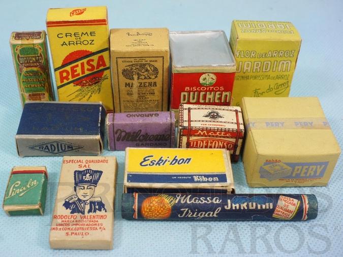 Brinquedo antigo Conjunto com 13 miniaturas de mantimentos para a Barraca de Feira Livre número 570 Ano 1956