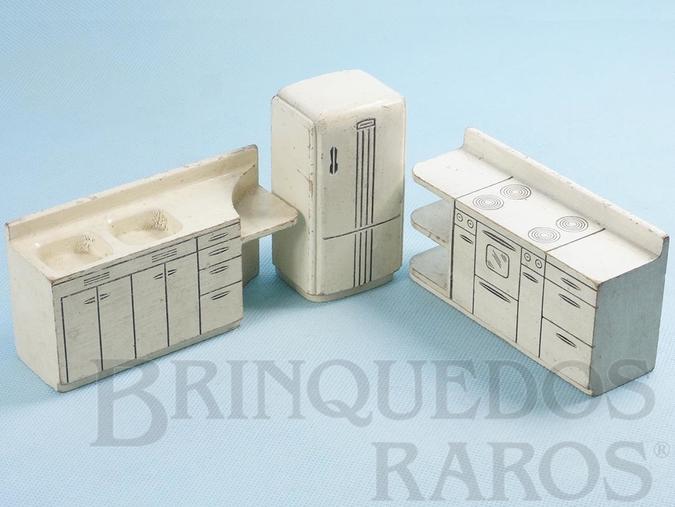 Brinquedo antigo Conjunto com 3 peças de móveis de Cozinha de Casa de Bonecas Década de 1950