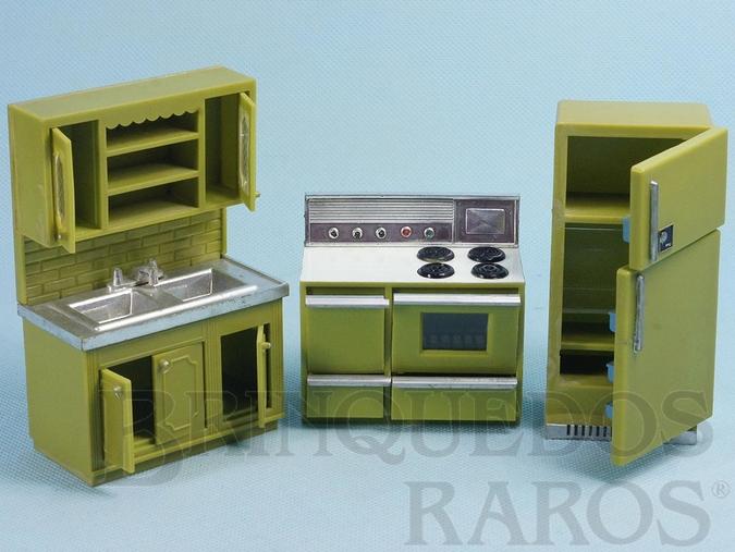Brinquedo antigo Conjunto com 3 peças de móveis de Cozinha de Casa de Bonecas Década de 1970