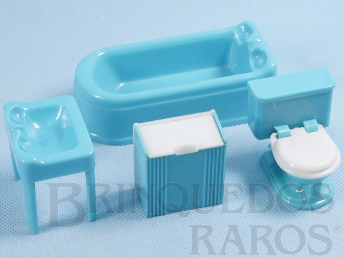 Brinquedo antigo Conjunto com 4 peças de móveis de Banheiro de Casa de Bonecas Década de 1950